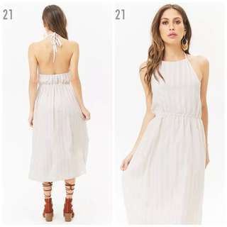🚚 OshareGirl 05 美單經典條紋格紋綁帶露背連身長裙洋裝