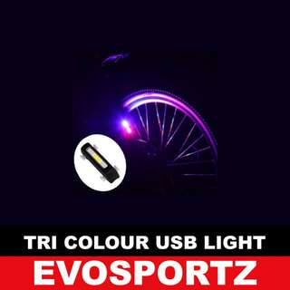 Bicycle /  Scooter Tri Colour USB Rechargeable Tail Light