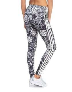 Adidas tri-stripe floral legging size S