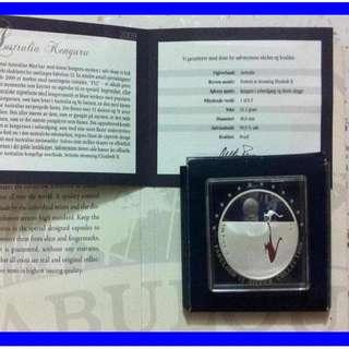 ♦ AUSTRALIA $1 - 2009 f12 KANGAROO @SUNSET. 1 Troy Oz. 999 Fine Silver Proof Coin - 4K
