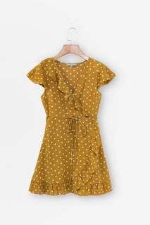 Yellow Polka Dots Ruffled Wrap Dress