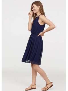 🚚 OshareGirl 05 歐美女士圓領無袖百褶雪紡連身裙