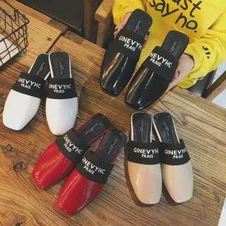 🚚 歐美平底拖鞋 ::::: 懶人鞋 外穿 韓版 方頭 平底鞋 跟鞋 網紅 INS 紀梵希 拖鞋 Givenchy 小香風 包頭 簡約 涼鞋 休閒 穆勒鞋 vicky