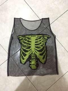 Skull skeleton see through tank top