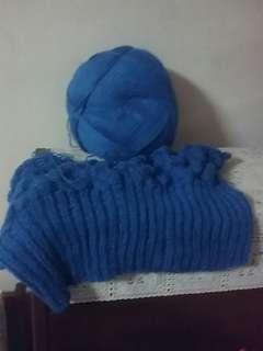 Knit, wool in blue.