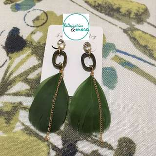leaf green feather dangling earings