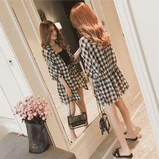 🚚 韓版休閒格紋兩件式套裝收腰格子襯衫外套格紋短褲