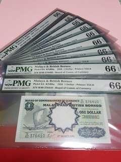 $1-1959-MBB.10PCS RUNNING.B/60-376401-B/60-376410.ALL 10PCS PMG66EPQ VERY RARE TO HV SAME GRADE.
