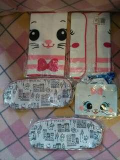 (最少買$30)Marie 富貴貓筆袋毛巾散紙散子散銀包