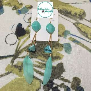 teal rose feather dangling earings
