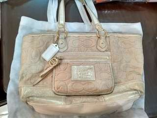 Coach Poppy Gold Shimmer Straw Purse Bag F16706