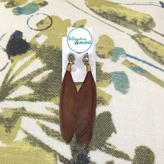 brown feather dangling earings