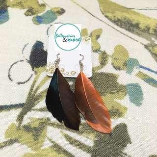 brown orange feather dangling earings