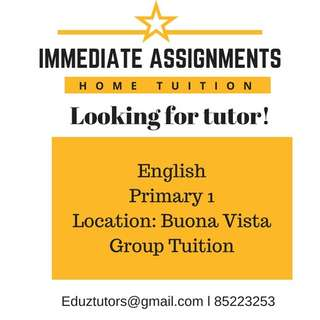 LOOKING FOR PRIMARY ENGLISH TUTOR