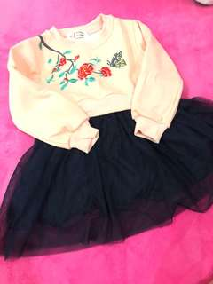 Baby girl winter top with tutu skirt