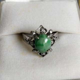 **Quick sell before 5/31** White gold ring with jade