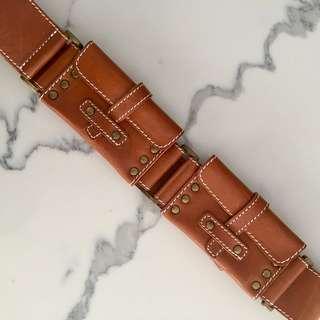 Boho Leather Belt with Functional Pockets