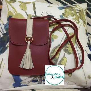 korean long red pouch bag