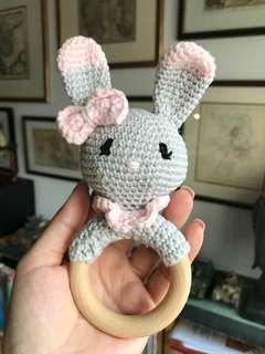 Rabbit rattles custom made for girl and boy