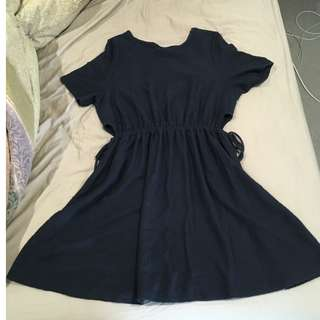 Dark Blue Cutout Dress