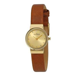 FREJA GOLD DIAL BROWN SADDLE LEATHER LADIES WATCH SKW2175