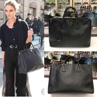 Prada black leather working handbag