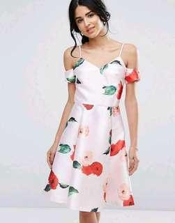 3D Floral Cold Shoulder Dress