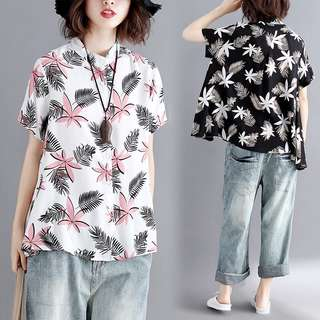 Plus size Summer Women's Loose Cotton Print Short Sleeve Shirt