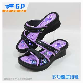 GP~阿亮代言~小鳥牌~時尚立體花樣厚底拖鞋~高跟套拖~GP套拖~G7535W~41