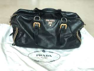 Prada full leather bag with sliver and Gold hardware