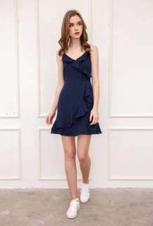 The Stage Walk Evie Ruffles Dress in Navy Blue