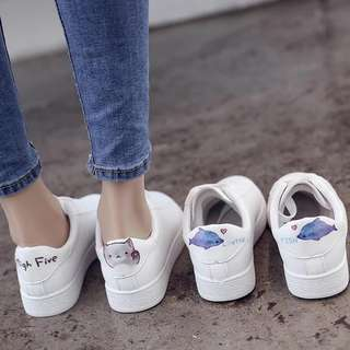 Cute Cat & Dolphin White Sneakers