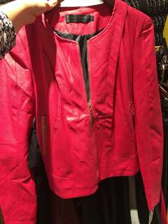 Women Leather Pink Jacket