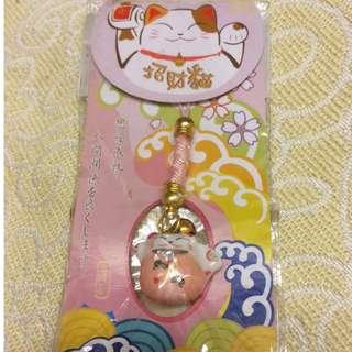 日式招財貓造型瓷器電話繩手機繩