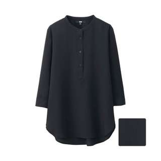 UNIQLO rayon stand collar blouse in black