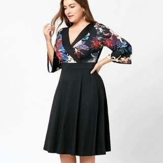 🍃Floral Combined Plus Size Dress