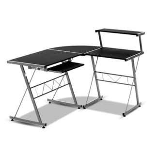 Corner Metal Pull Out Table Desk - Black