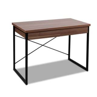 Metal Desk with Drawer Walnut Wooden Table Top