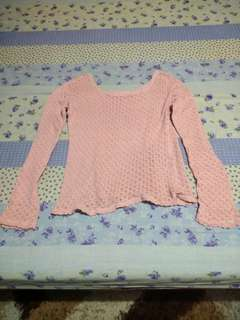 Pink knitted long sleeves