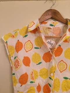 Lemon/orange button down top