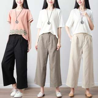 (M~3XL) 2018 cotton and linen casual wide leg harem pants wild loose pants