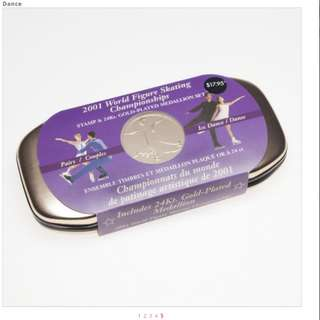 2001 World Figure Skating 24k Gold Coin & Stamp Sets