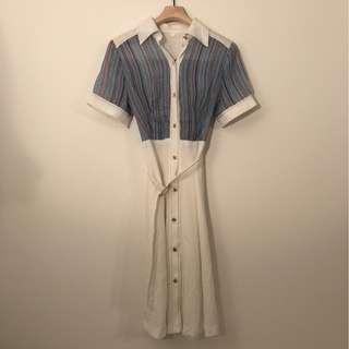 日本古著 白色立領短袖彩色塊短袖洋裝