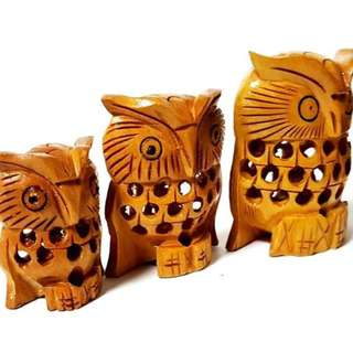hand made wooden owl set home display n decor