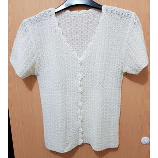 Off White Knit Blouse