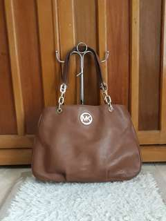 Tas Michael Kors Fulton Brown Leather Chain Hobo Bag Authentic