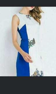 Blue and White Bodycon Sleeveless Dress