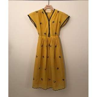 日本古著|V領小果實圖案刺繡黃色棉麻短袖洋裝