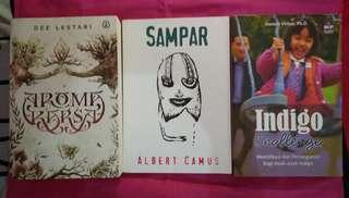 [SEPAKET] Aroma Karsa - Dee Lestari, Sampar - Albert Camus, Indigo Challenge - Doreen Virtue, Ph.D.