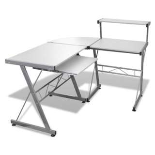 Corner Metal Pull Out Table Desk - White